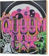 Queens Cat Mural Wood Print
