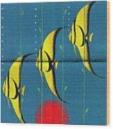 Queensland Great Barrier Reef - Vintage Poster Folded Wood Print