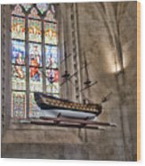 Quelven Church, Brittany, France, Ship Wood Print