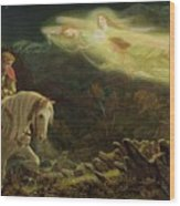 Quest For The Holy Grail Wood Print by Arthur Hughes
