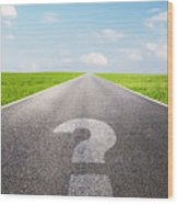 Question Mark Symbol On Long Empty Straight Road Wood Print