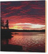 Quetico Sun Rise Wood Print by Peter  McIntosh