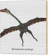 Quetzalcoatlus Flying Reptile With Font Wood Print