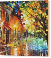 Quiet Corner-garden On The Stones - Palette Knife Oil Painting On Canvas By Leonid Afremov Wood Print