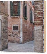 Quiet Corner In Venice Wood Print