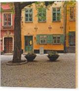 Quiet Little Square In Old Gamla Stan In Stockholm Sweden Wood Print