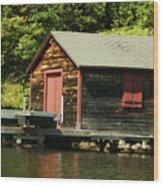 Quiet Sunapee Fishing Cabin Wood Print