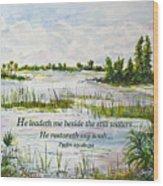 Quiet Waters Psalm 23 Wood Print