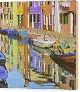 Quiet Waterway Reflections Wood Print