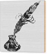 Quill And Ink-black Wood Print