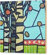 Quilted Birch Garden Wood Print