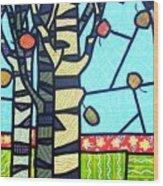 Quilted Birch Garden Wood Print