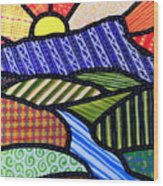 Quilted Mountain Sunrise Wood Print