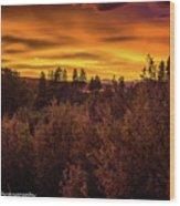 Quilted Orange Skies Wood Print