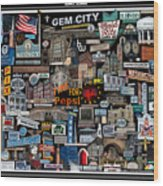 Quincy, Il Collage Wood Print