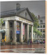 Quincy Market On A Wet Day Wood Print