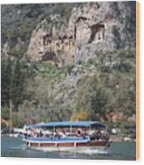 Quintessentially Dalyan River Boats And Rock Tombs Wood Print