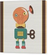 Quirky Retro Wind-up Toy Wood Print