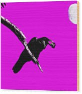 Quoth The Raven Nevermore . Magenta Wood Print