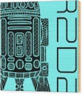 R2d2 - Star Wars Art - Blue Wood Print