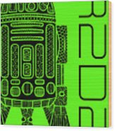R2d2 - Star Wars Art - Green Wood Print