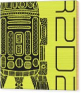 R2d2 - Star Wars Art - Yellow Wood Print