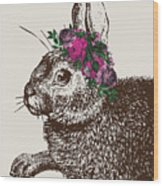 Rabbit And Roses Wood Print