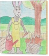 Rabbit Gardening In The Kitchen Garden Wood Print