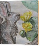 Rabbit With Flower Wood Print