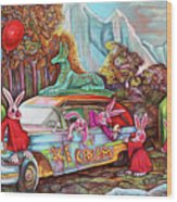 Rabbits Selling Ice Cream From A Hearse Wood Print
