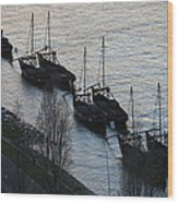 Rabelo Boats On Douro River In Portugal Wood Print