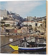 Rabelo Boats On River Douro In Porto 02 Wood Print
