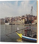 Rabelo Boats On River Douro In Porto 03 Wood Print