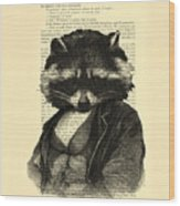 Raccoon Portrait, Animals In Clothes Wood Print