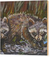 Raccoons From River Mural Wood Print