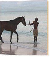Race Horse And Groom 2 Wood Print