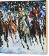 Race On The Snow Wood Print