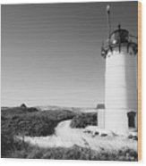 Race Point Lighthouse Black And White Photo Print Wood Print