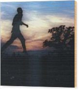 Race to Sunset Wood Print