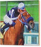Racehorse And Jockey Wood Print