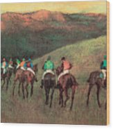 Racehorses In A Landscape Wood Print
