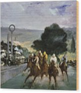 Races At Longchamp Wood Print by Edouard Manet