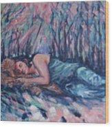 Rachel In The Sun-splattered Forest Wood Print