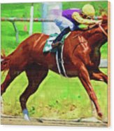 Racing In The Stretch Wood Print