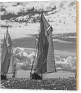 Racing On Open Waters B-w Wood Print