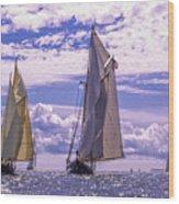 Racing On Open Waters Wood Print