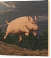 Racing Pig Wood Print