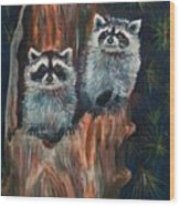 Racoons Wood Print