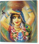 Radha And Bumblebee Wood Print by Lila Shravani