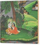 Radha Krishna  Wood Print